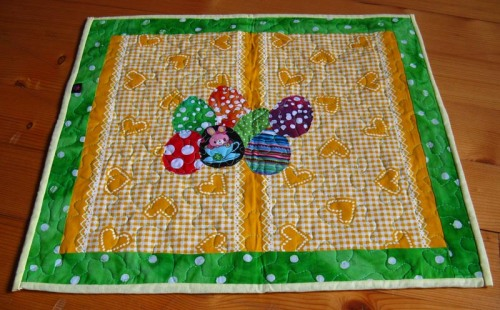 green easter table runner
